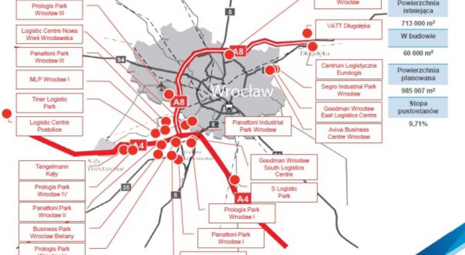 Mapa lokalizacji nowych magazynów na Dolnym Śląsku