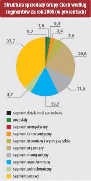 Struktura sprzedazy Grupy Ciech według segmentów za rok 2006