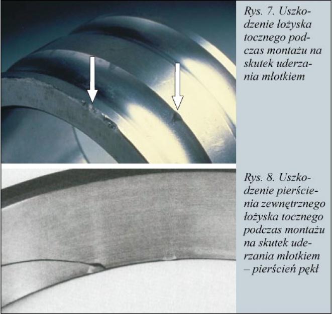 Rys. 7. Uszkodzenie łożyska tocznego podczas montażu na skutek uderzenia młotkiem  Rys.8. Uszkodzenie pierścienia zewnętrzenego łożyska tocznego podczas montażu na skutek uderzania młotkiem - pierścień pękł