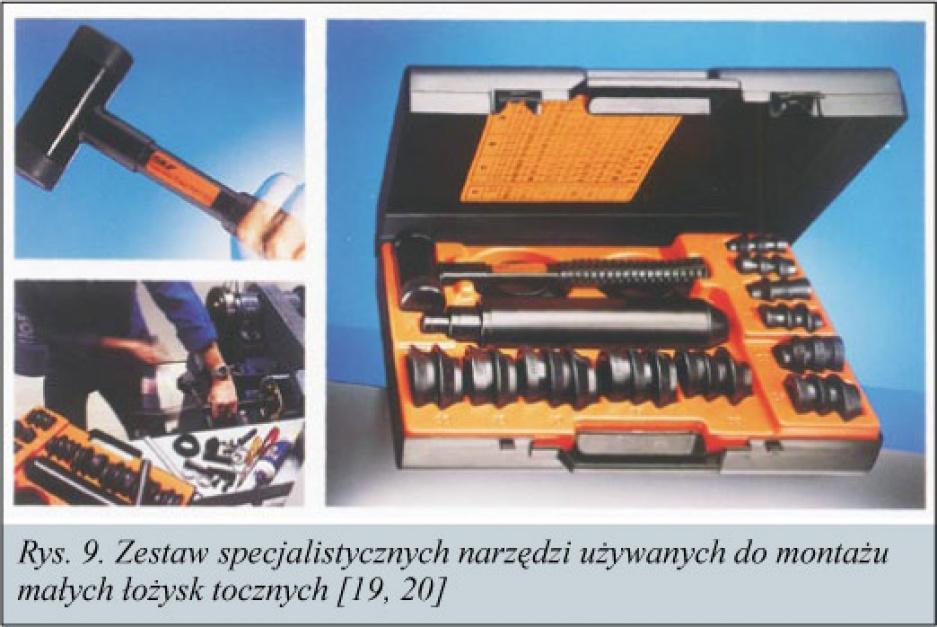 Rys. 9. Zestaw specjalistycznych narzędzi użwanych do montażu małych łożysk toczych [19, 20]