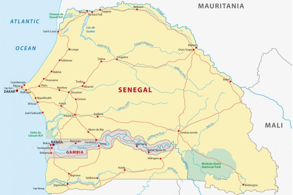 Gambia to najmniejsze pod względem powierzchni państwo kontynentalnej Afryki. Zajmuje 50-kilometrowej szerokości skrawek lądu wzdłuż dolnego biegu rzeki Gambii. Fot. Shutterstock.com