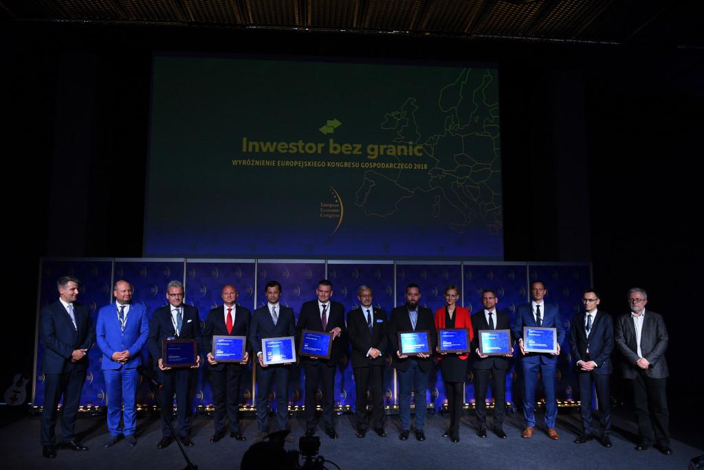 Tegoroczni laureaci wyróżnień Inwestor Bez Granic podczas uroczystej gali, która odbyła się pierwszego dnia Europejskiego Kongresu Gospodarczego.