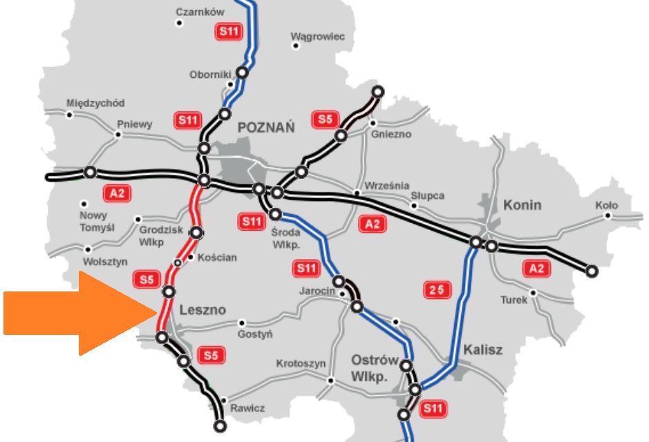 Na czarno drogi w eksploatacji, na czerwono w realizacji, a na niebiesko w planowaniu. fot. GDDKiA
