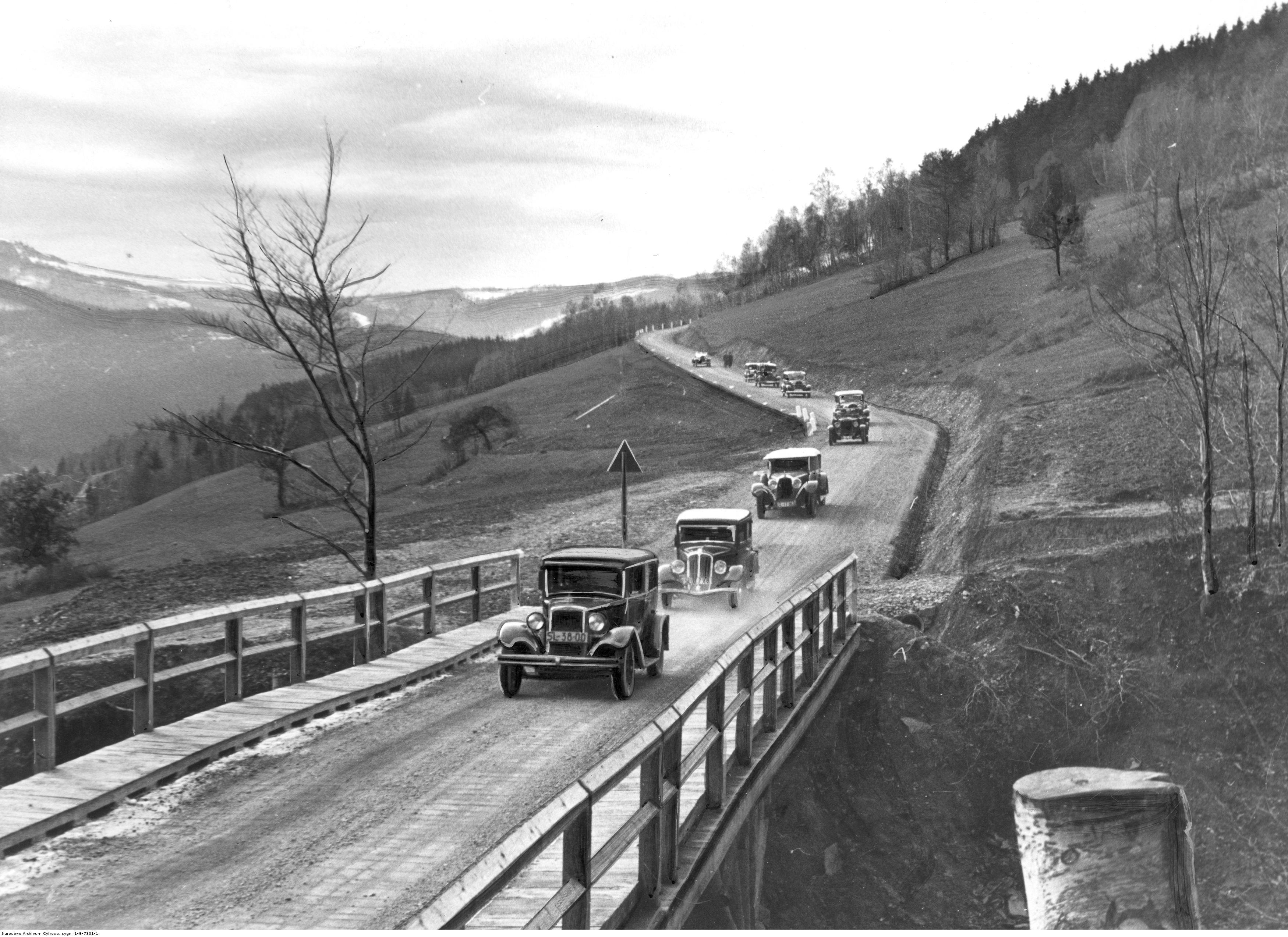 Fragment nowo wybudowanej drogi z Polany koło Ustronia na szczyt Równicy. fot. Narodowe Archiwum Cyfrowe