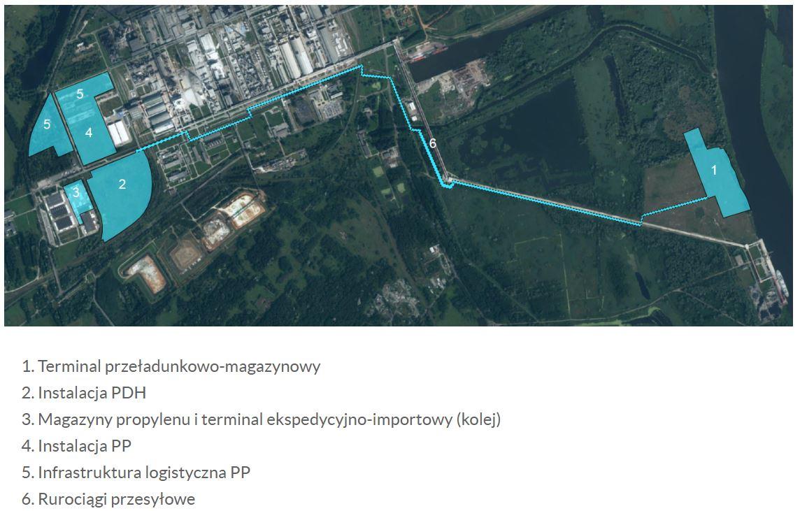 Mapa planowanego kompleksu Polimery Police. fot. Grupa Azoty