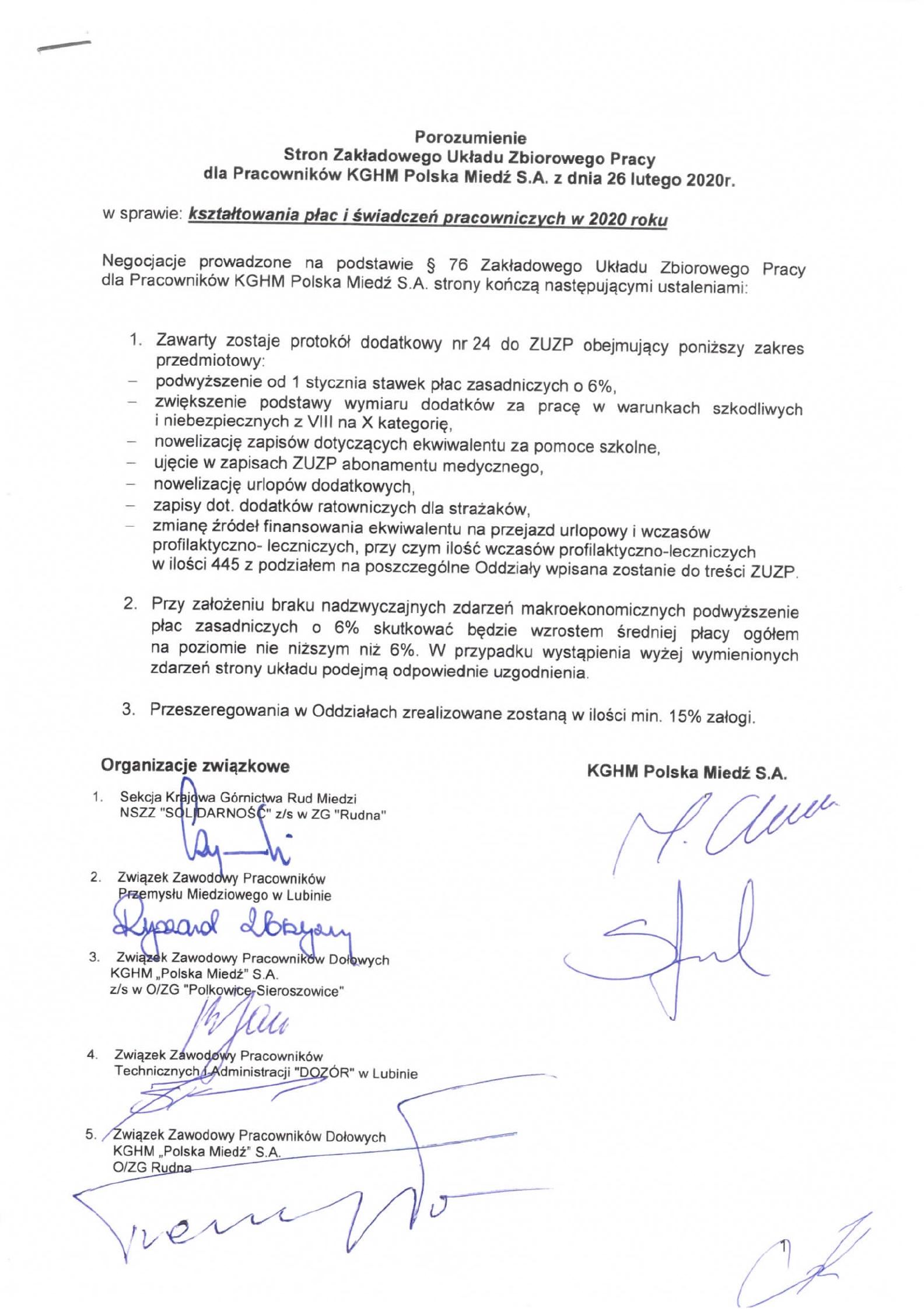 """Organizacja Zakładowa NSZZ """"Solidarność"""" w KGHM Polska Miedź S.A. O/ZG """"Polkowice-Sieroszowice"""""""