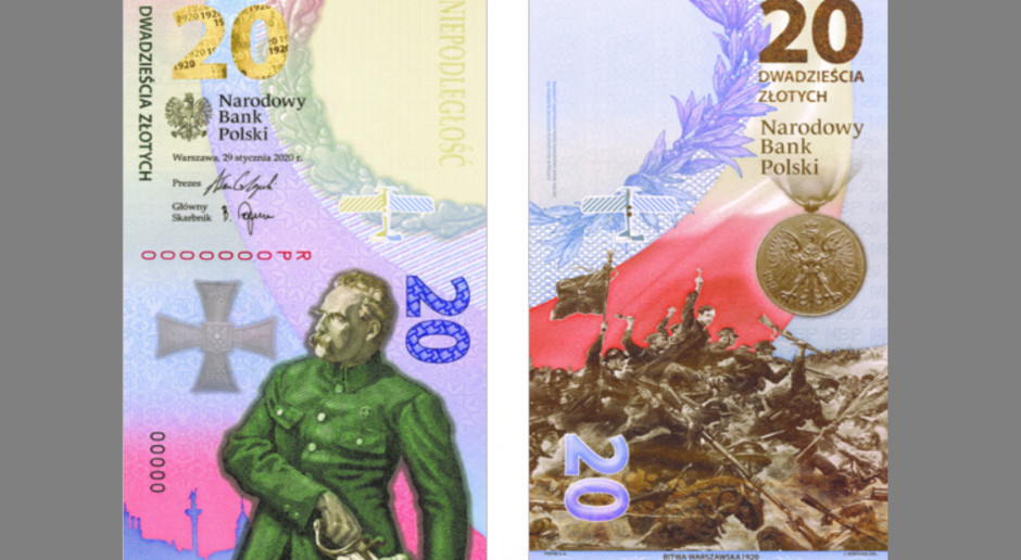 NBP wyemitował pierwszy pionowy banknot - upamiętnia Bitwę Warszawską 1920
