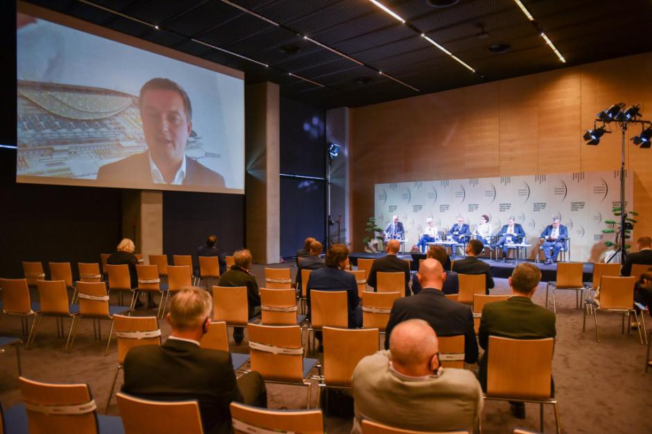 Michał Samborski, dyrektor ds. rozwoju w deweloperskiej spółce Panattoni Europe, uczestniczył w dyskusji zdalnie. Fot. PTWP
