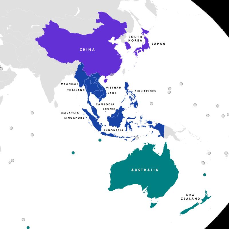 Regionalne kompleksowe partnerstwo gospodarcze (RCEP). Źródło: Tiger 7253/wikimedia, licencja CC BY-SA 4.0