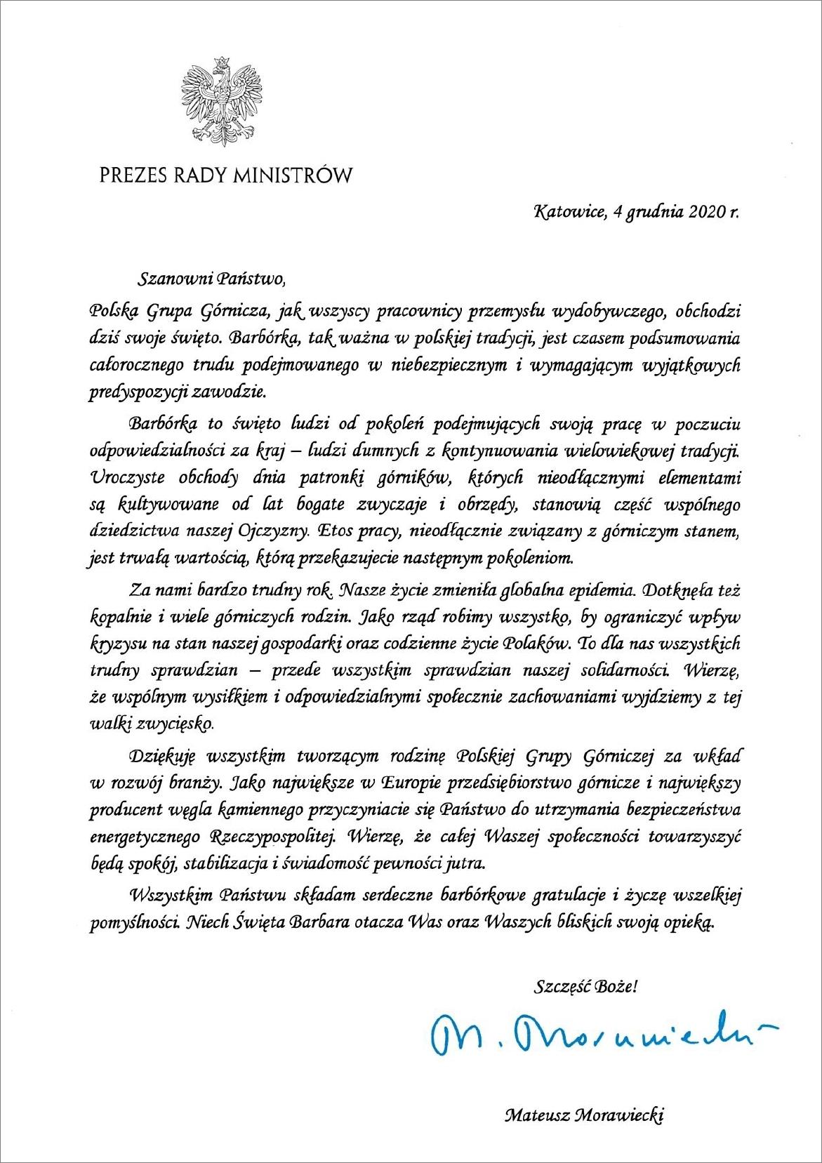 List premiera (fot. pgg.pl)