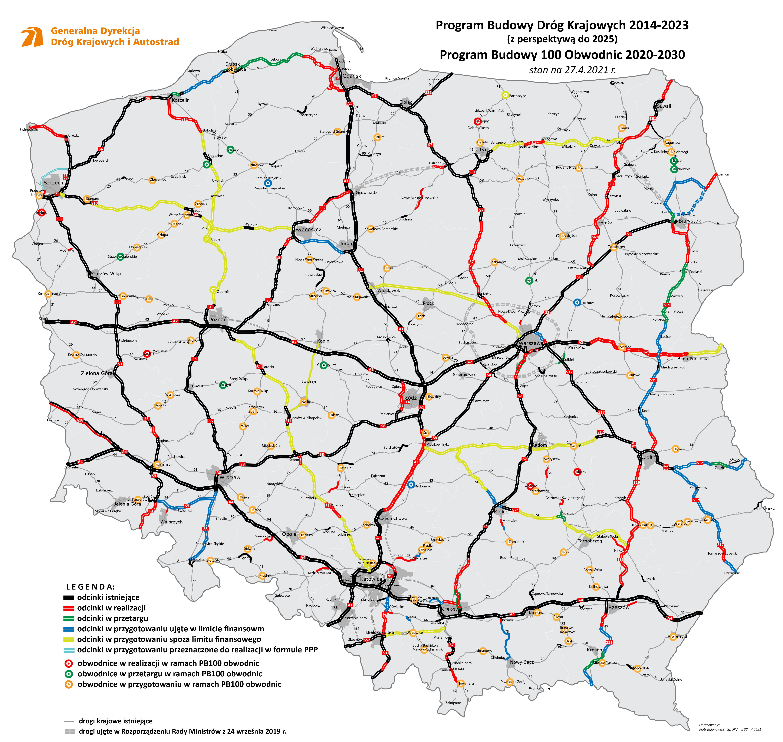 Sieć szybkich dróg - mapa kwiecień 2021. Fot. GDDKiA