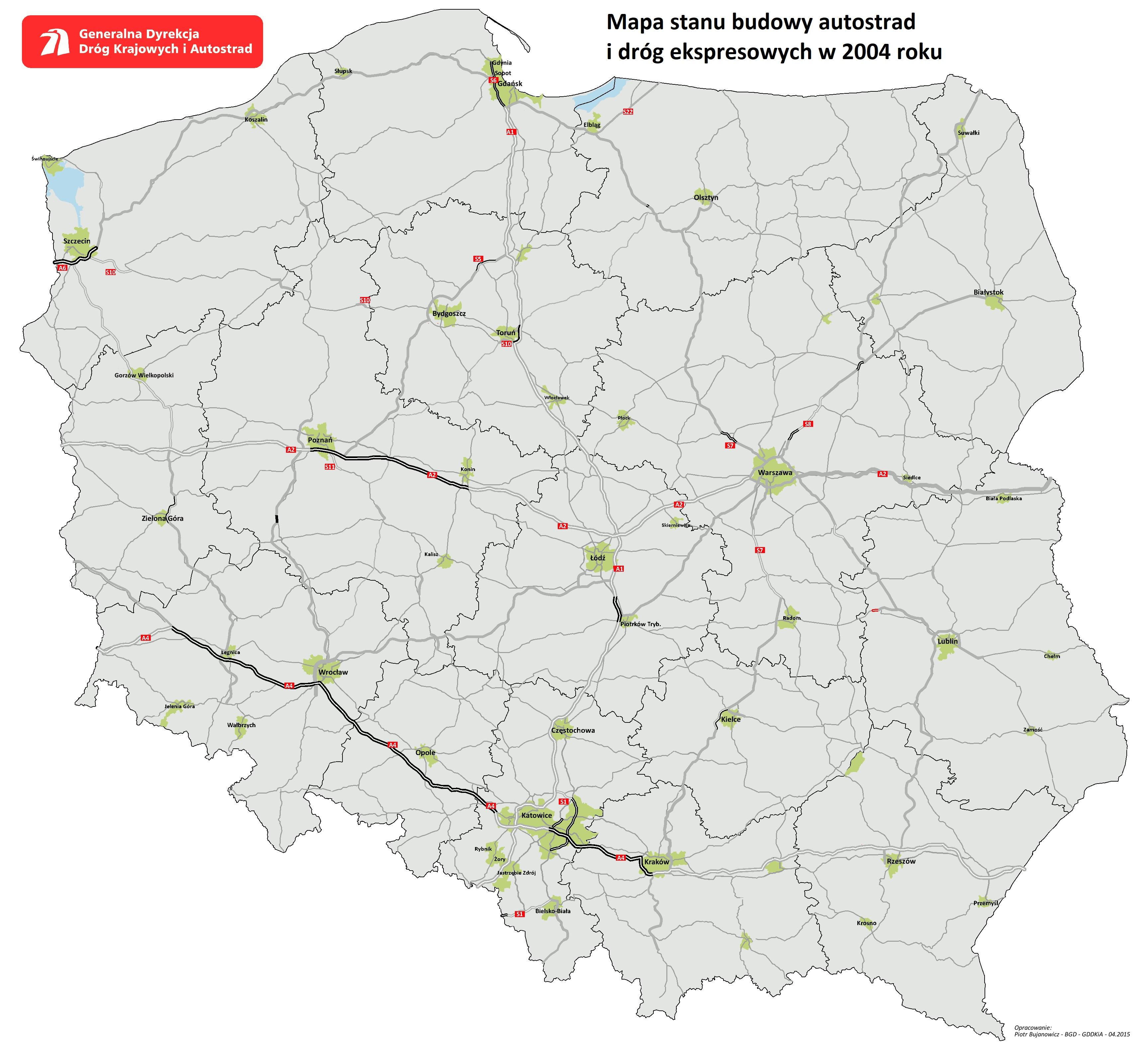 Sieć szybkich dróg - mapa 2004. Fot. GDDKiA