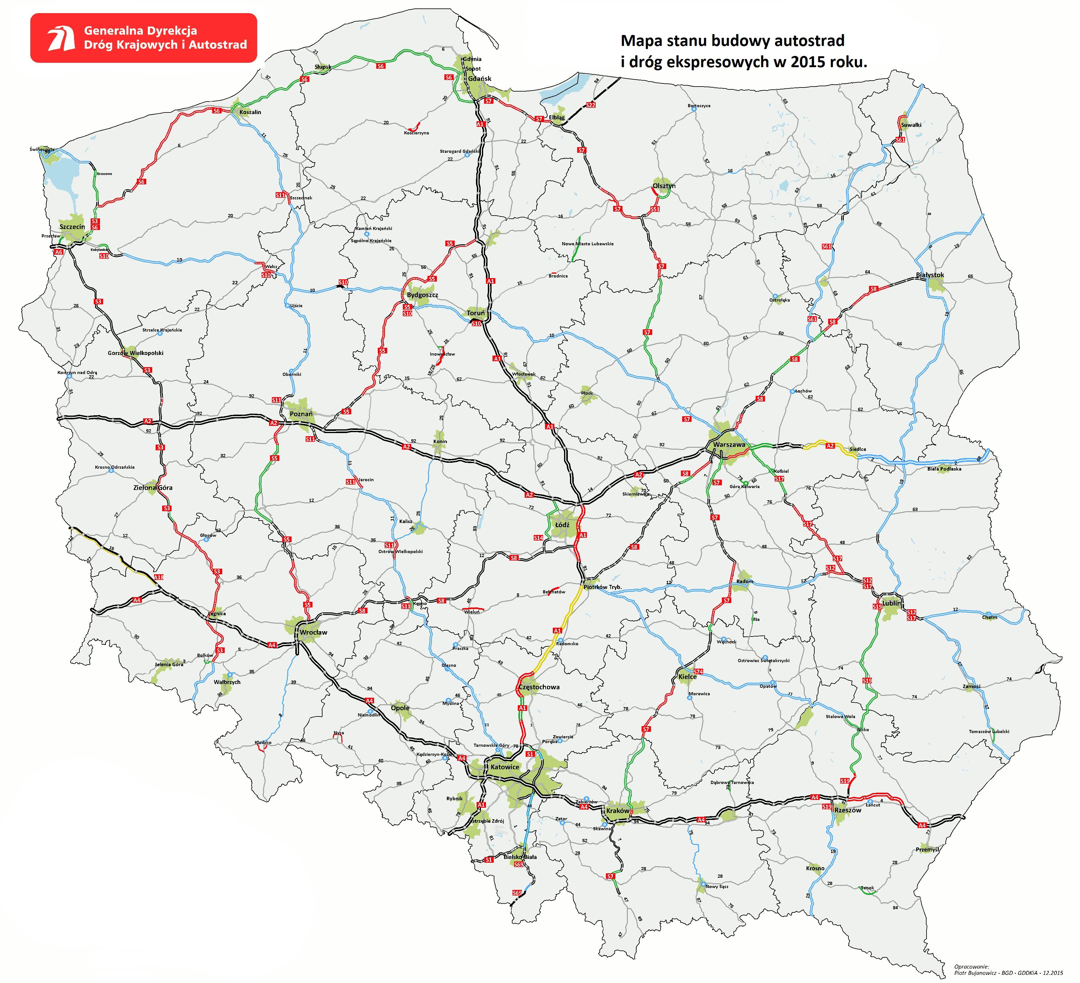 Sieć szybkich dróg - mapa 2015. Fot. GDDKiA