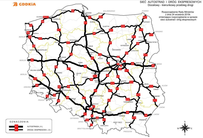 Docelowa sieć dróg i autostrad. Fot. GDDKiA