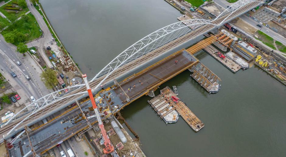 Zaawansowanie prac na budowie mostów przez Wisłę na linii kolejowej E30