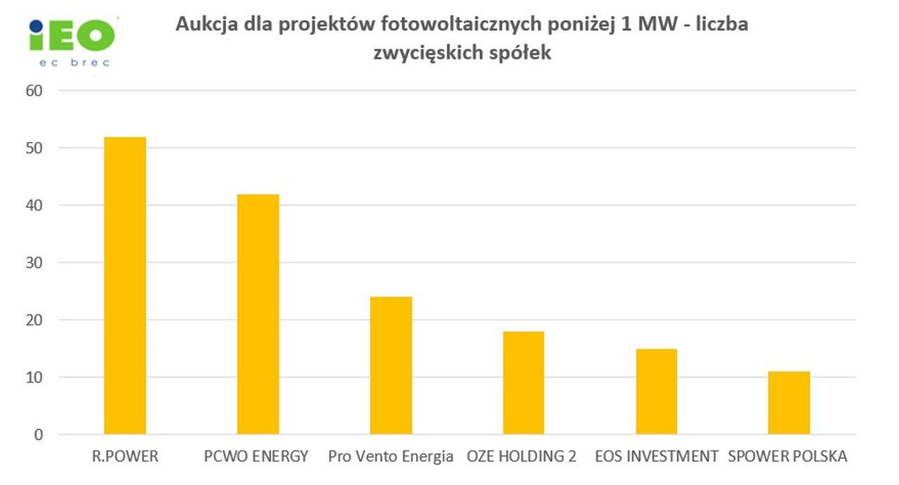 Zwycięskie spółki w aukcji OZE 2021 w koszyku wiatr/PV dla projektów o mocy poniżej 1 MW (źródło: Instytut Energetyki Odnawialnej)