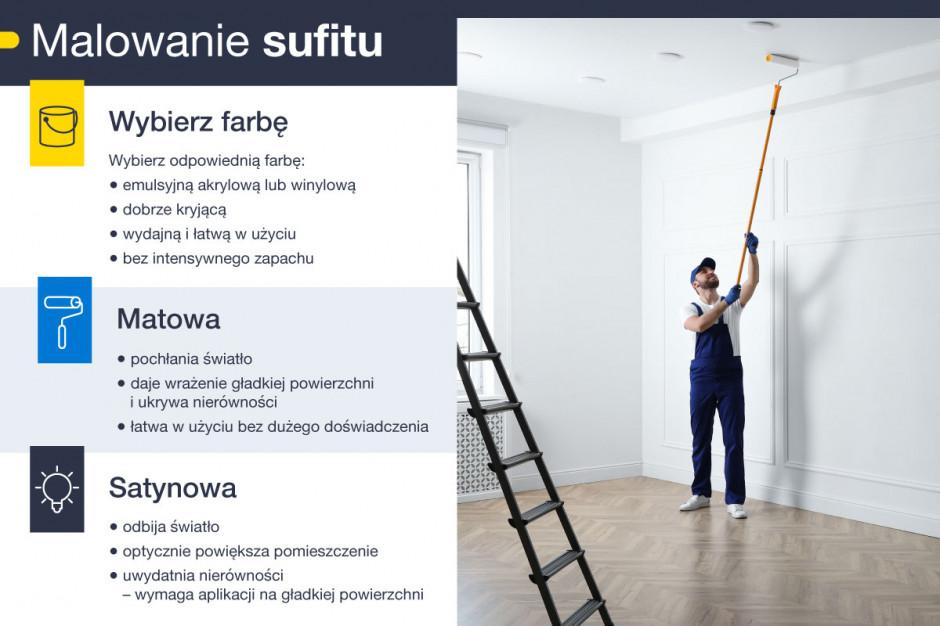 Wybór farby do malowania sufitu - infografika