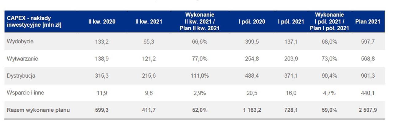 Inwestycje grupy Enea w I półroczu 2021 (Źródło: Enea)